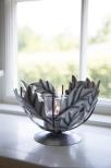 Ljuslykta blad i plåt med glas
